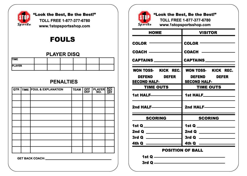 1 Stop Sports Reusable Football Game Card - 1 Stop Sports With Soccer Referee Game Card Template