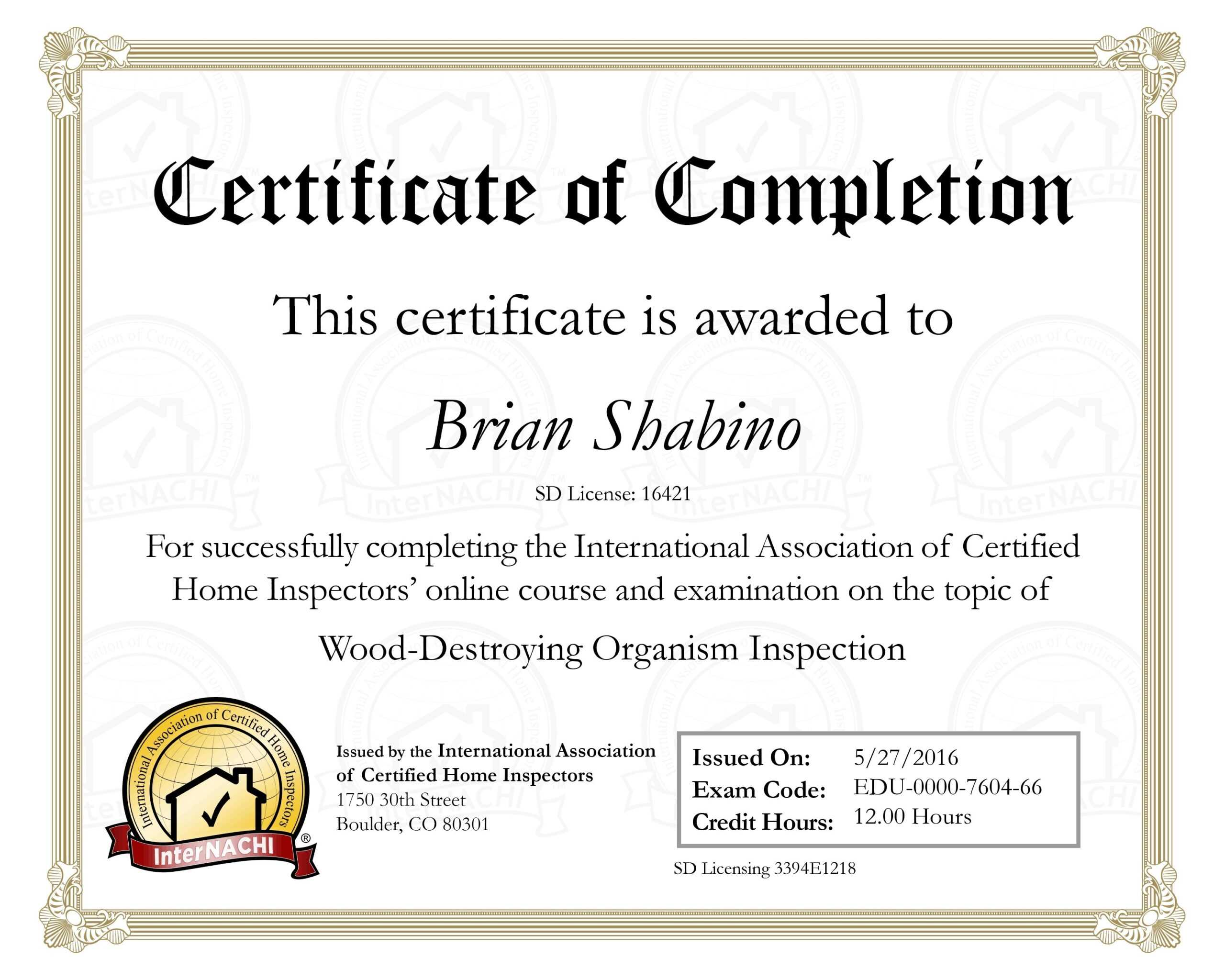 10 Template For A Certificate Of Completion | Business Letter Inside Certificate Of License Template