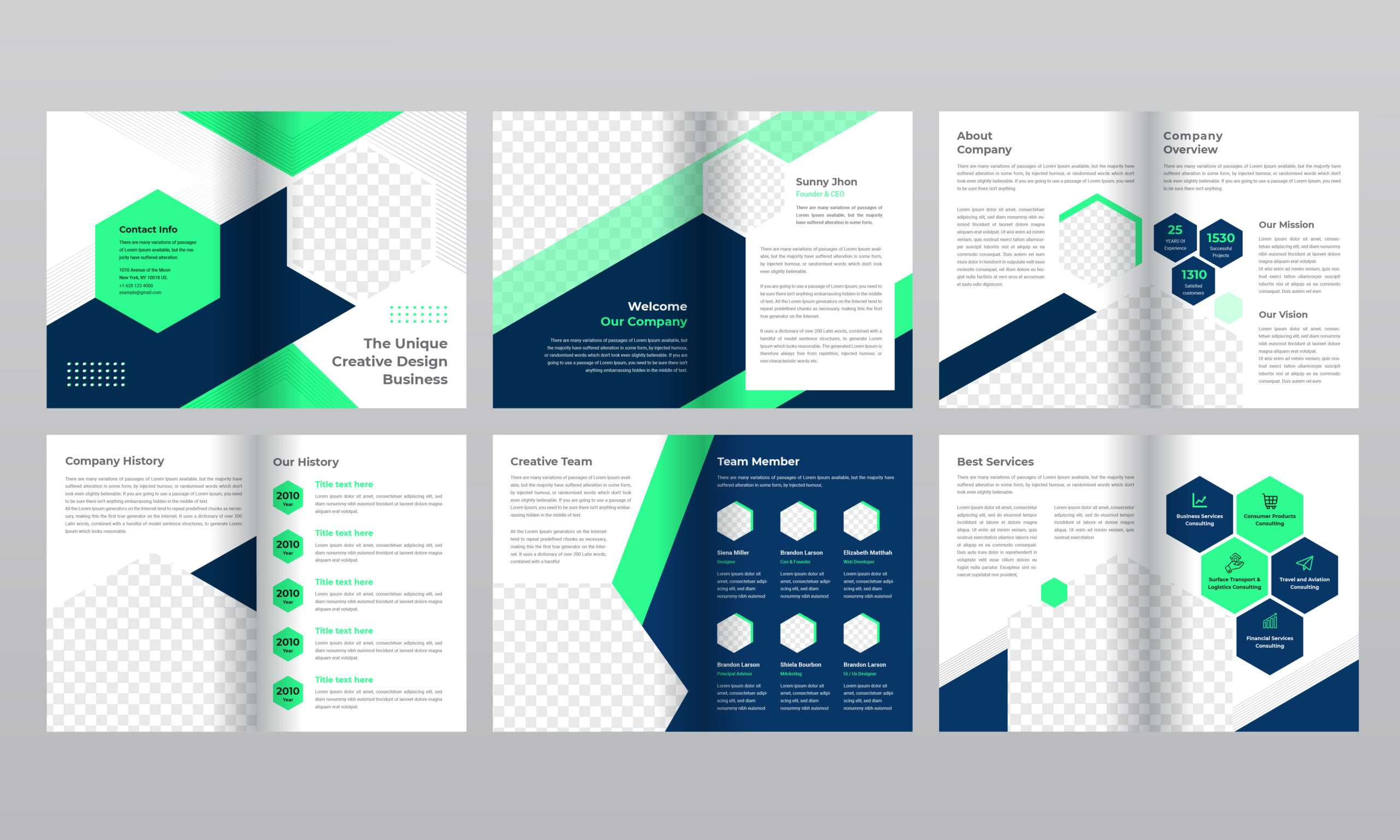 12 Page Blue And Green Gradient Business Brochure Template For 12 Page Brochure Template