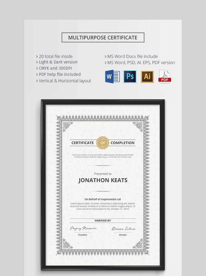 20 Best Free Microsoft Word Certificate Templates (Downloads Inside Microsoft Office Certificate Templates Free
