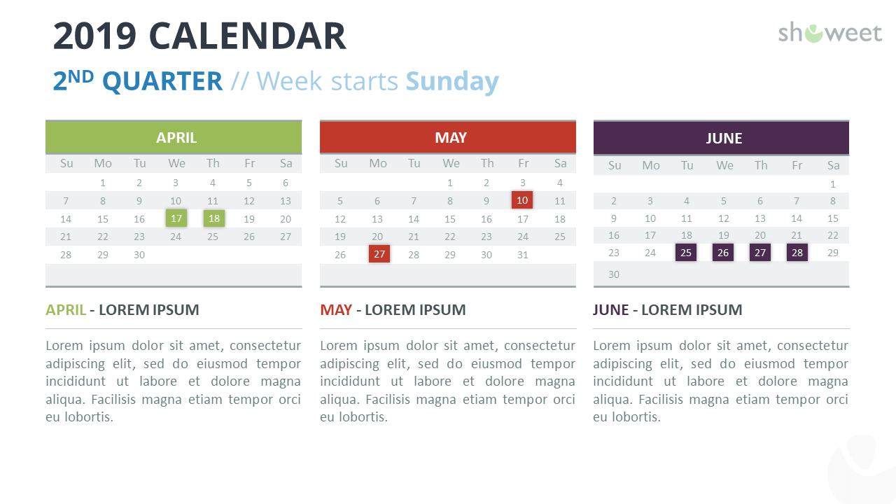 2019 Calendar Powerpoint Templates Regarding Microsoft Powerpoint Calendar Template