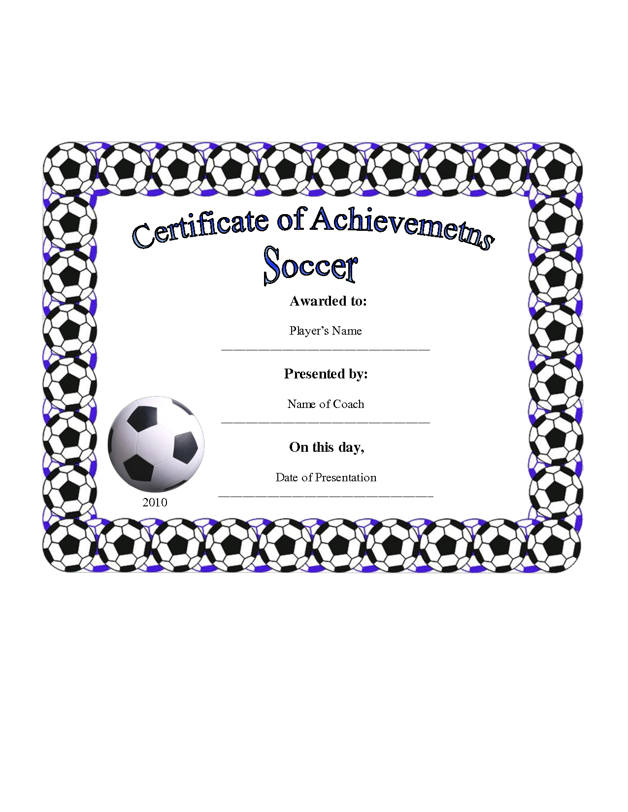 28+ [ Soccer Certificate Template ] | 7 Best Images Of Free With Regard To Soccer Certificate Template Free
