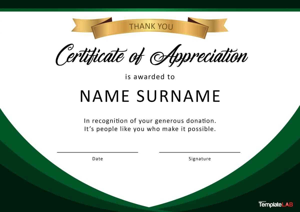 30 Free Certificate Of Appreciation Templates And Letters In Certificate Of Appreciation Template Free Printable