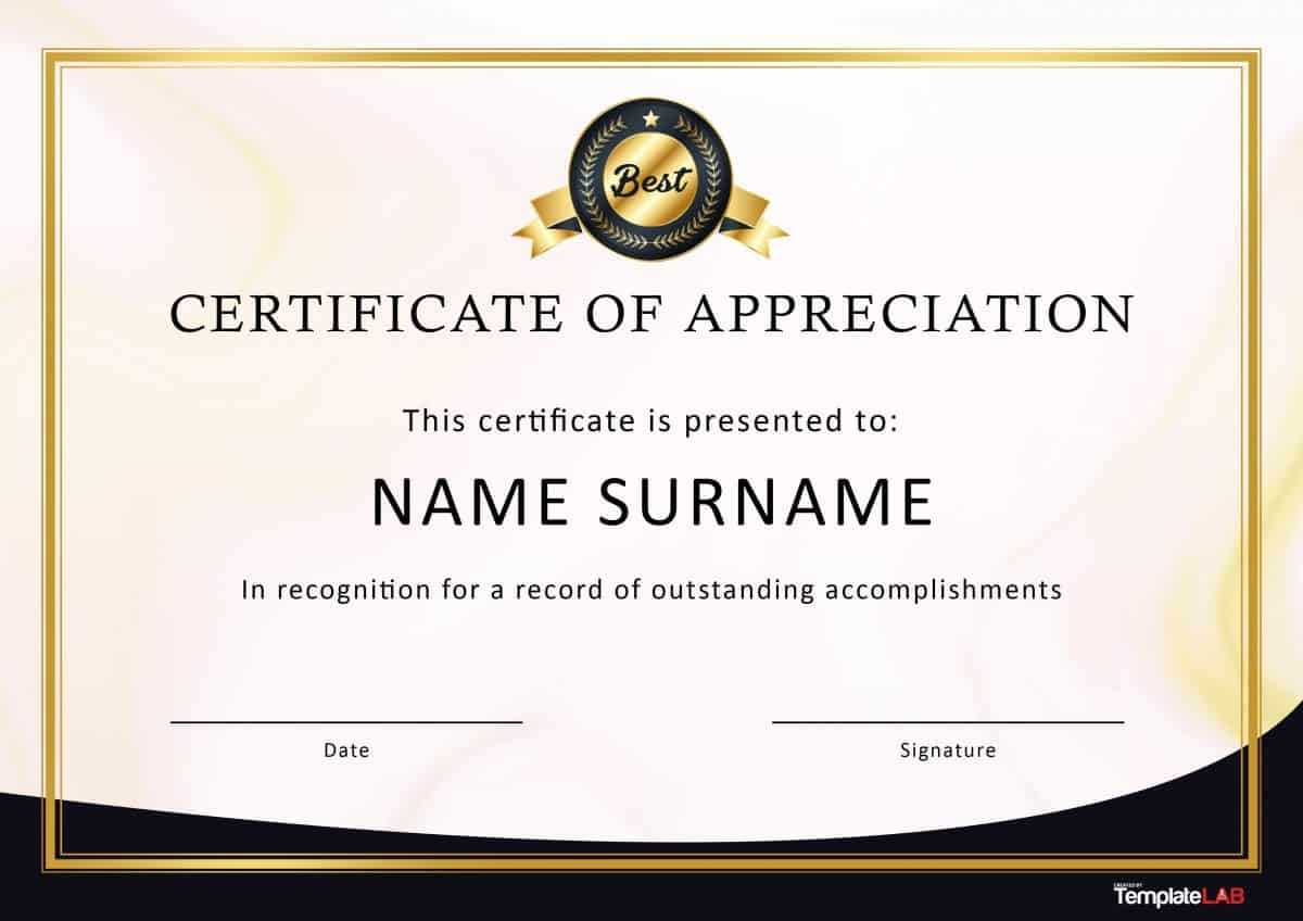 30 Free Certificate Of Appreciation Templates And Letters Inside Formal Certificate Of Appreciation Template