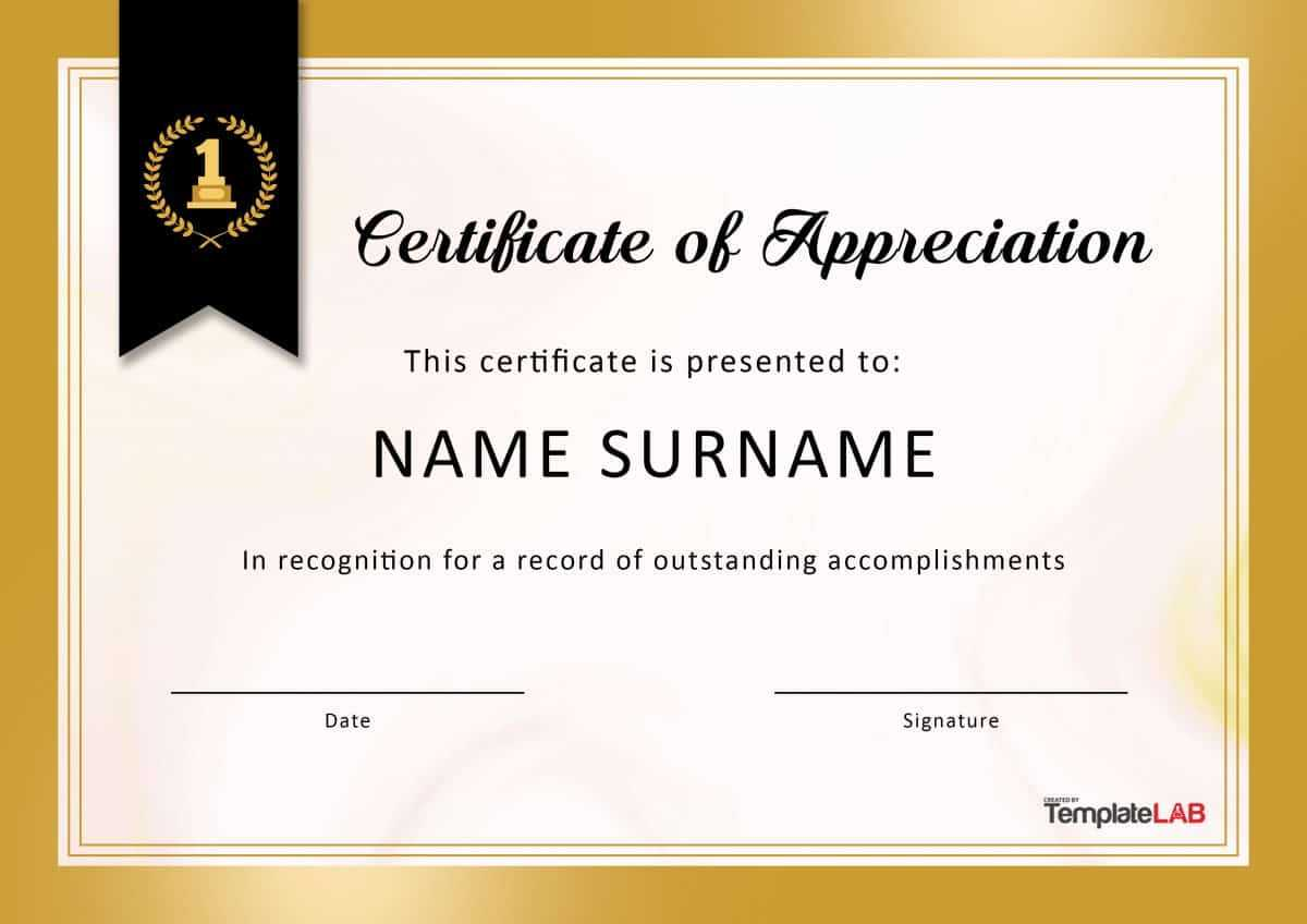 30 Free Certificate Of Appreciation Templates And Letters Inside Recognition Of Service Certificate Template