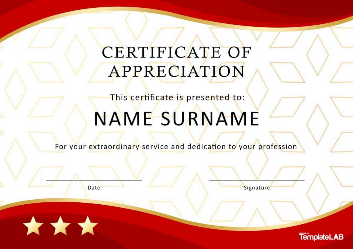 30 Free Certificate Of Appreciation Templates And Letters Pertaining To Certificate Of Service Template Free
