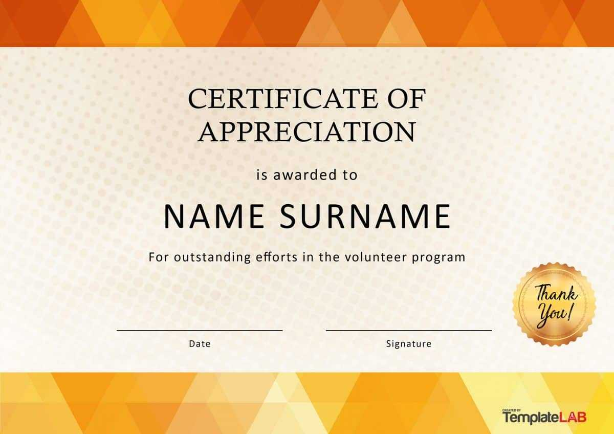 30 Free Certificate Of Appreciation Templates And Letters With Regard To Volunteer Award Certificate Template
