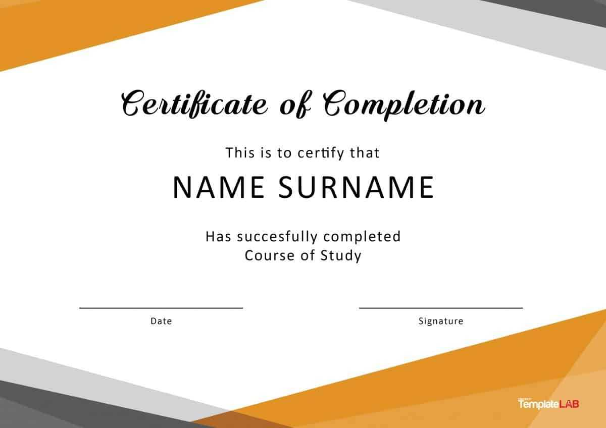 40 Fantastic Certificate Of Completion Templates [Word For Class Completion Certificate Template