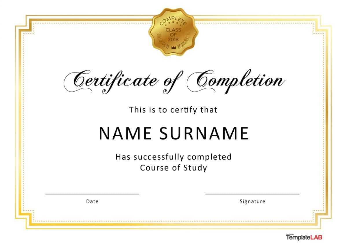 40 Fantastic Certificate Of Completion Templates [Word Inside Downloadable Certificate Templates For Microsoft Word