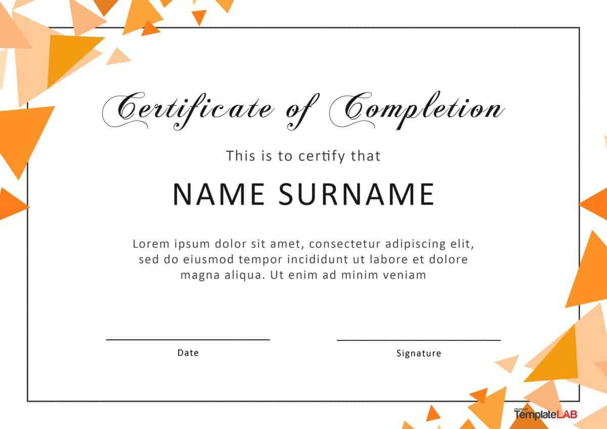 40 Fantastic Certificate Of Completion Templates [Word Throughout Word Template Certificate Of Achievement