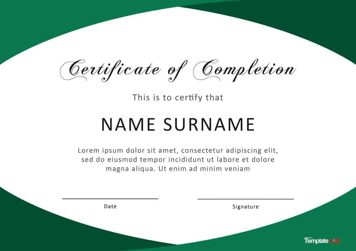 40 Fantastic Certificate Of Completion Templates [Word With Certificate Templates For Word Free Downloads