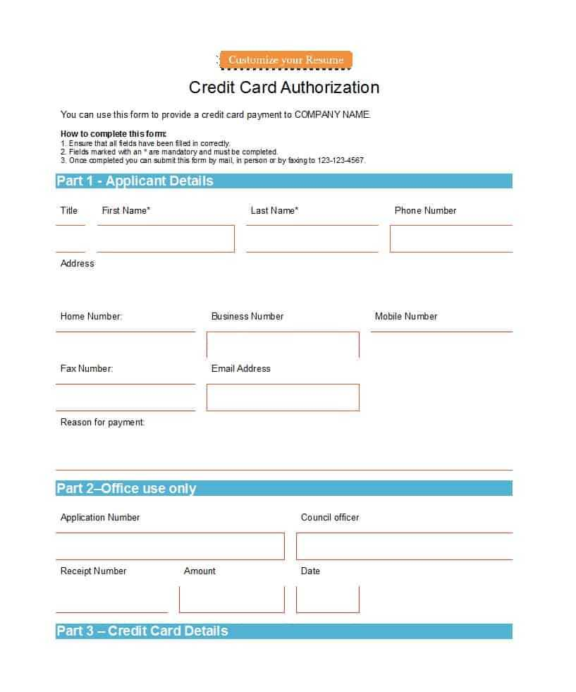 41 Credit Card Authorization Forms Templates {Ready To Use} Pertaining To Order Form With Credit Card Template