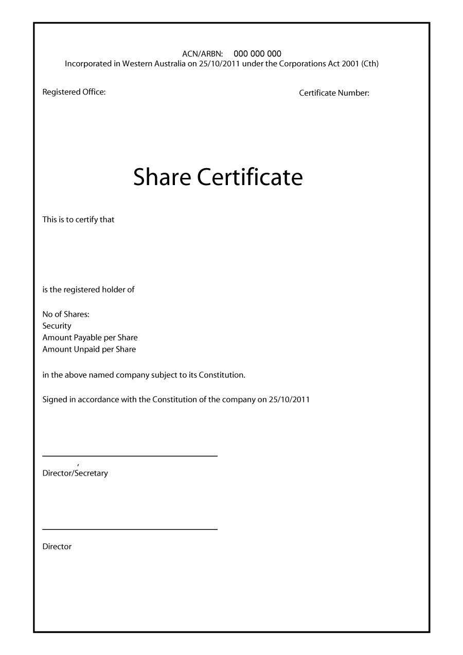 41 Free Stock Certificate Templates (Word, Pdf) - Free For Share Certificate Template Pdf