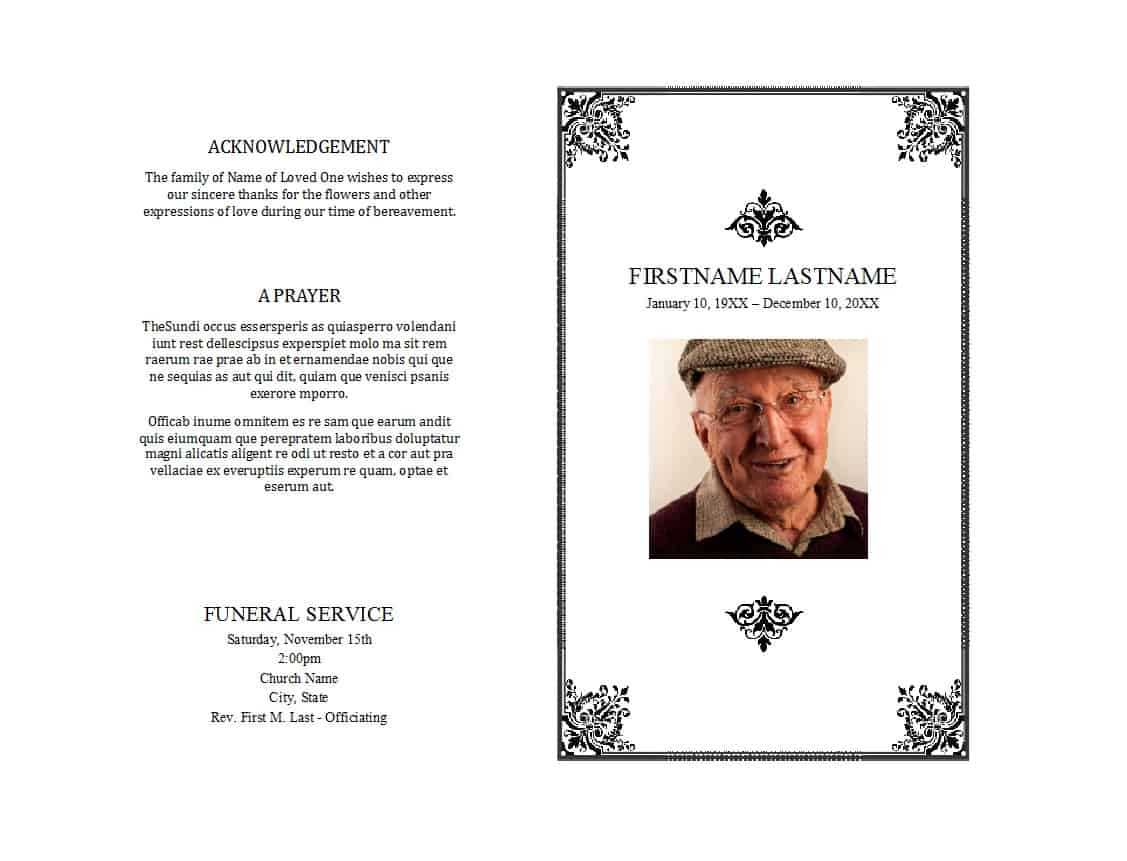 47 Free Funeral Program Templates (In Word Format) ᐅ For Memorial Brochure Template
