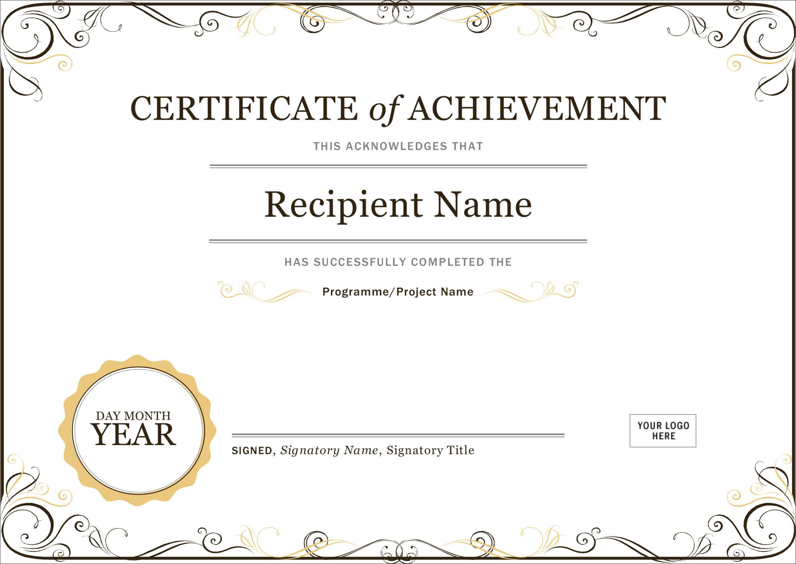 50 Free Creative Blank Certificate Templates In Psd For Word Certificate Of Achievement Template