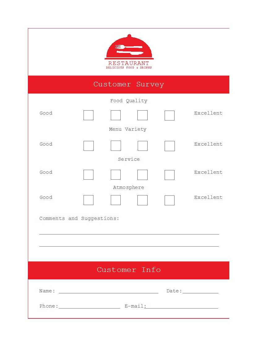 50 Printable Comment Card & Feedback Form Templates ᐅ For Restaurant Comment Card Template