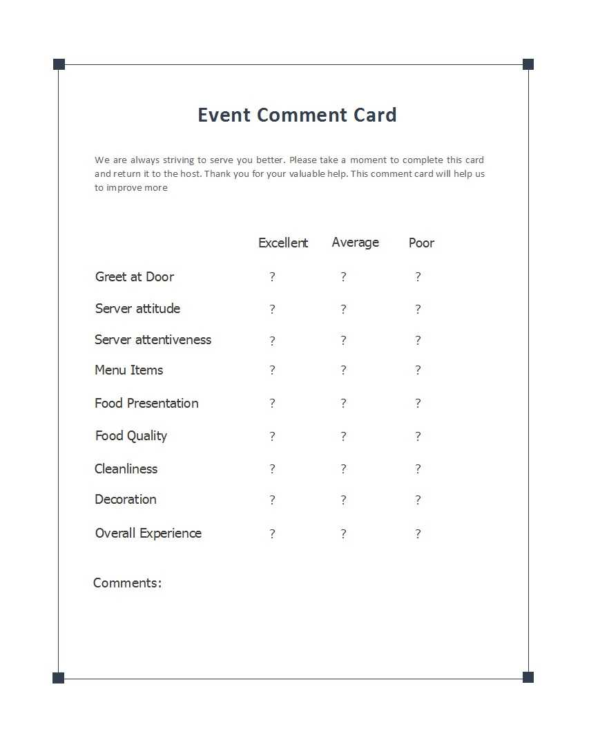 50 Printable Comment Card & Feedback Form Templates ᐅ Regarding Comment Cards Template