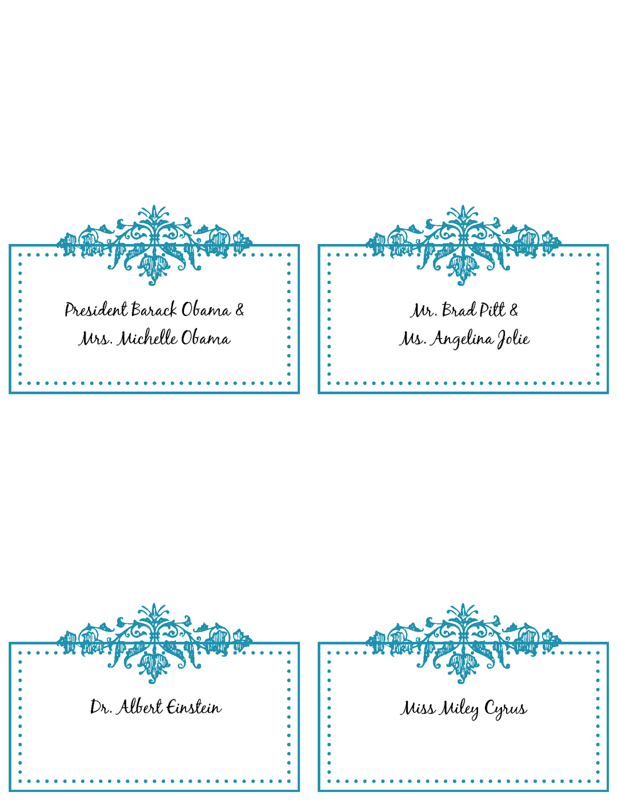 6 Best Images Of Free Printable Wedding Place Cards - Free Throughout Free Place Card Templates 6 Per Page