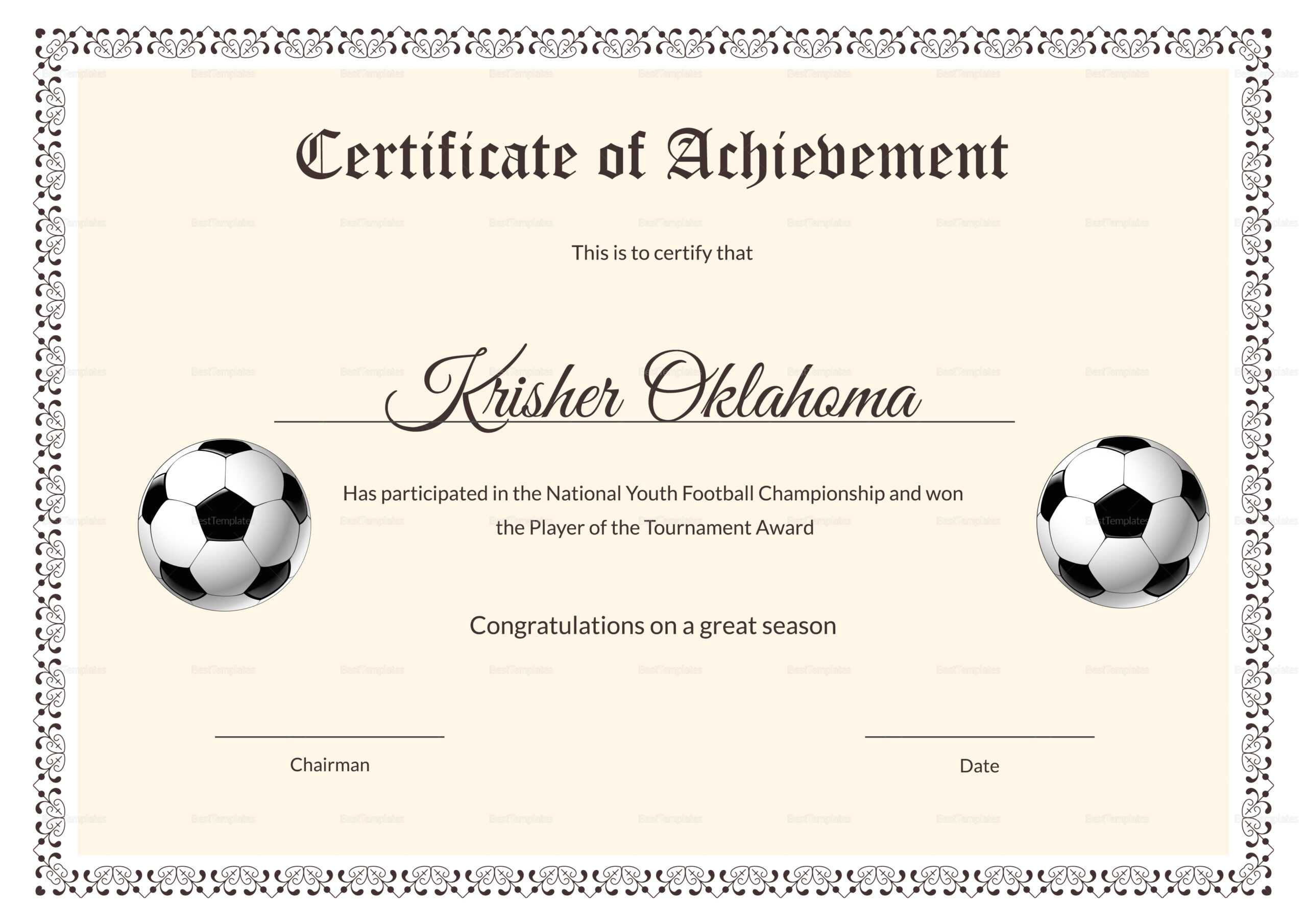 62A11 Soccer Award Certificates | Wiring Library In Football Certificate Template