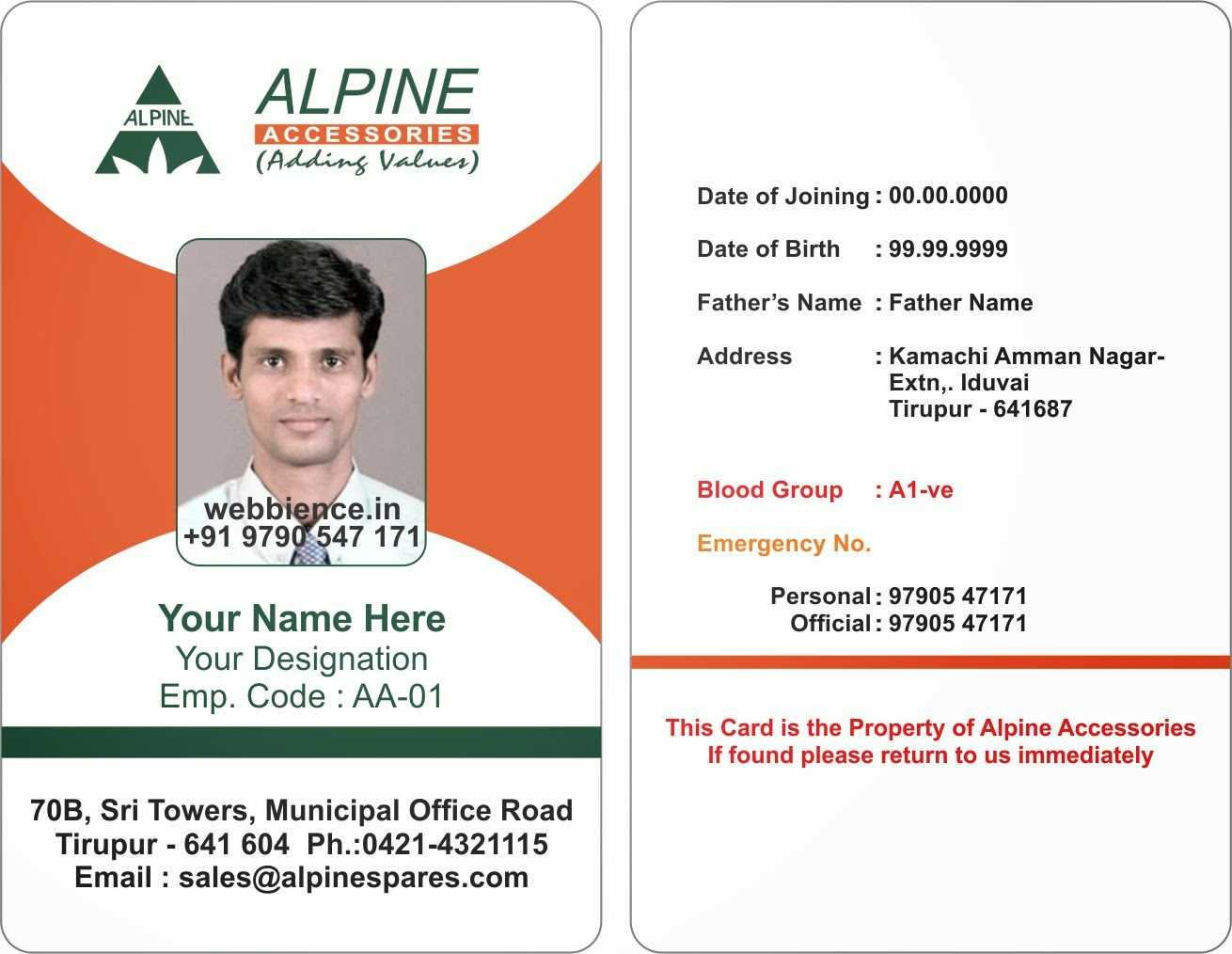 6517082 Sample Employee Id Card Template Employee Template Regarding Sample Of Id Card Template