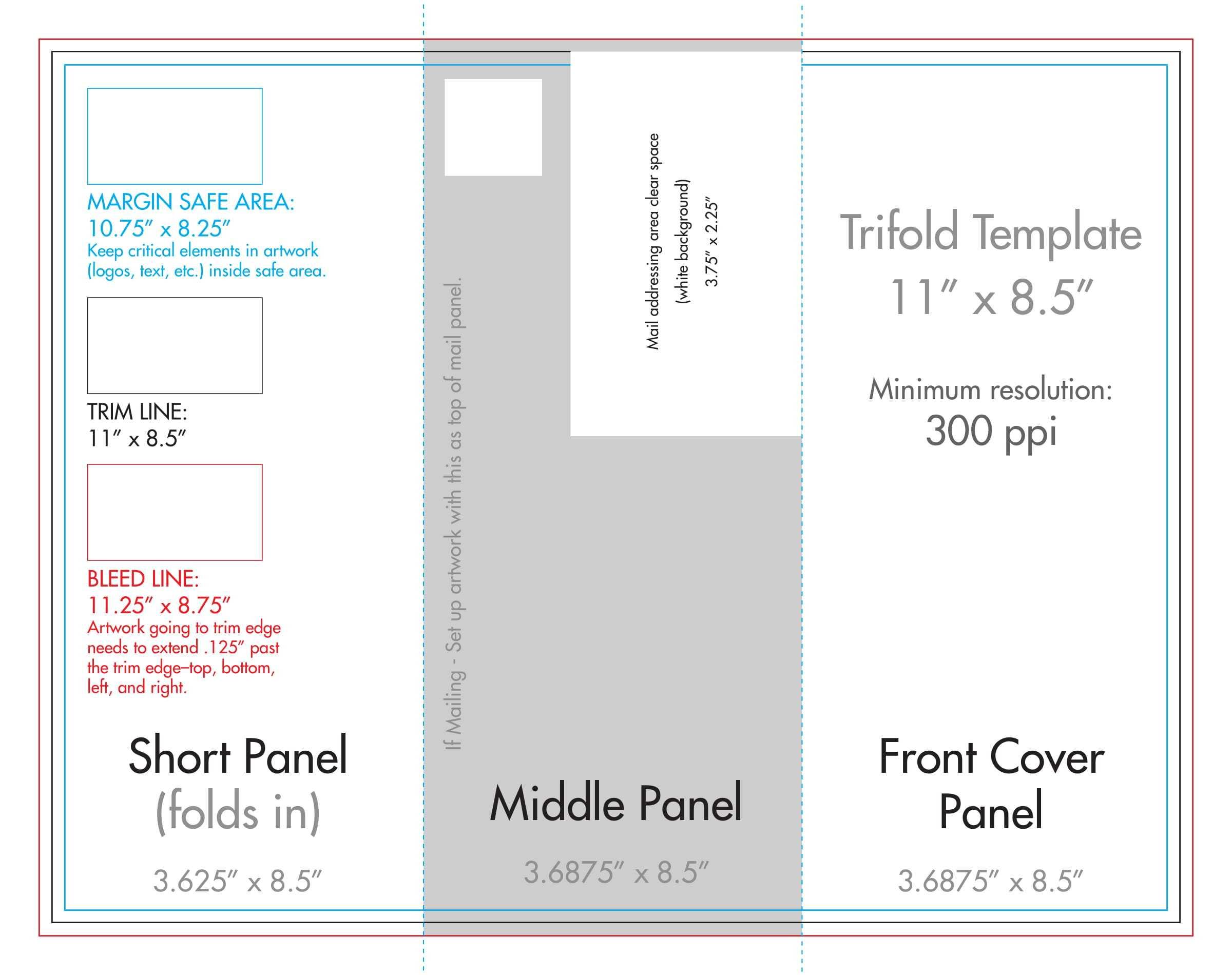 "8.5"" X 11"" Tri Fold Brochure Template - U.s. Press With 8.5 X11 Brochure Template"