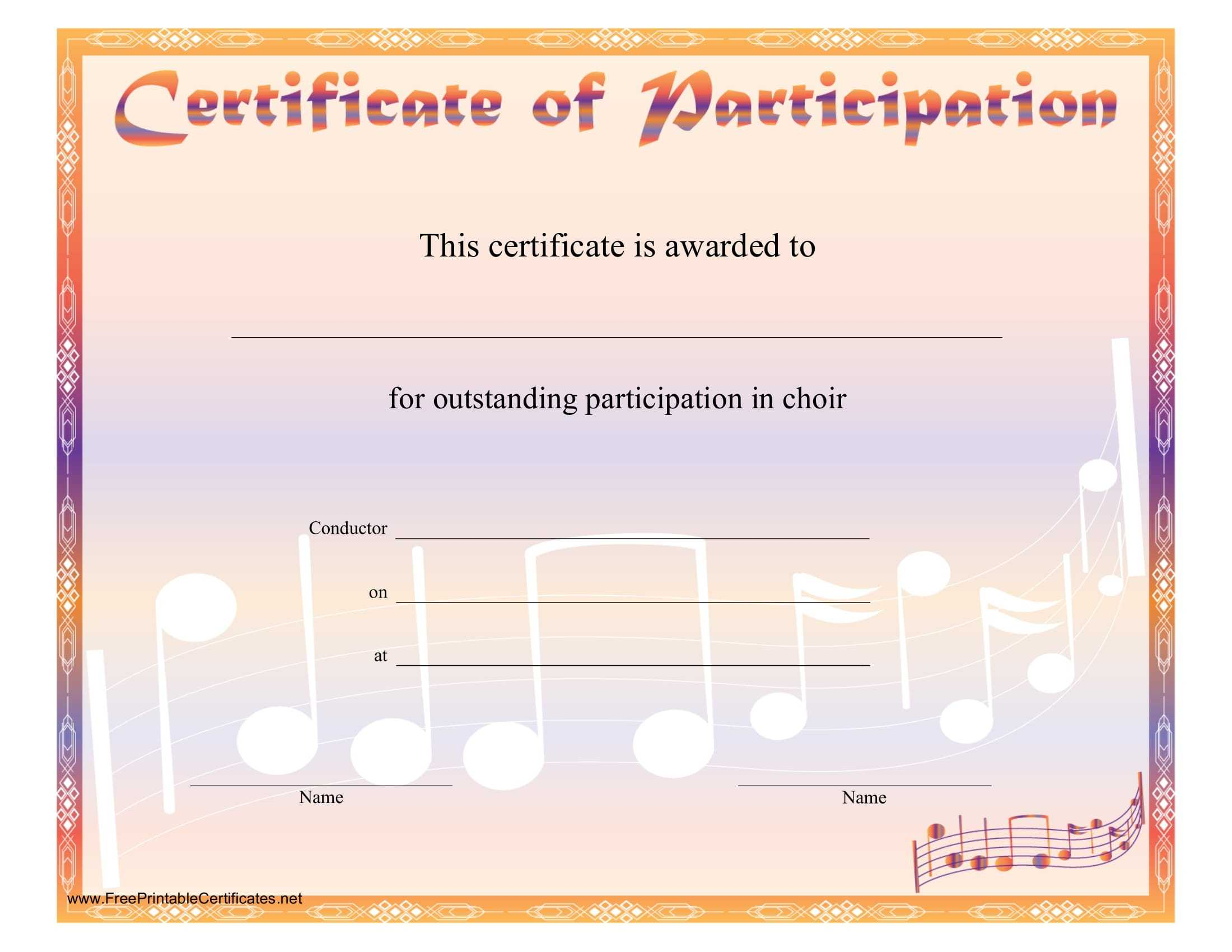 8+ Free Choir Certificate Of Participation Templates - Pdf Throughout Choir Certificate Template
