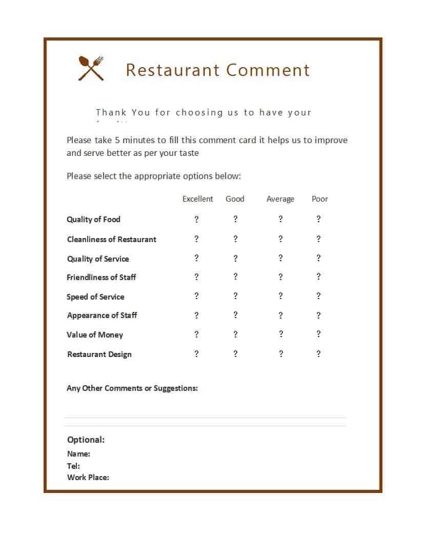 9 Restaurant Comment Card Templates - Free Sample Templates With Regard To Survey Card Template