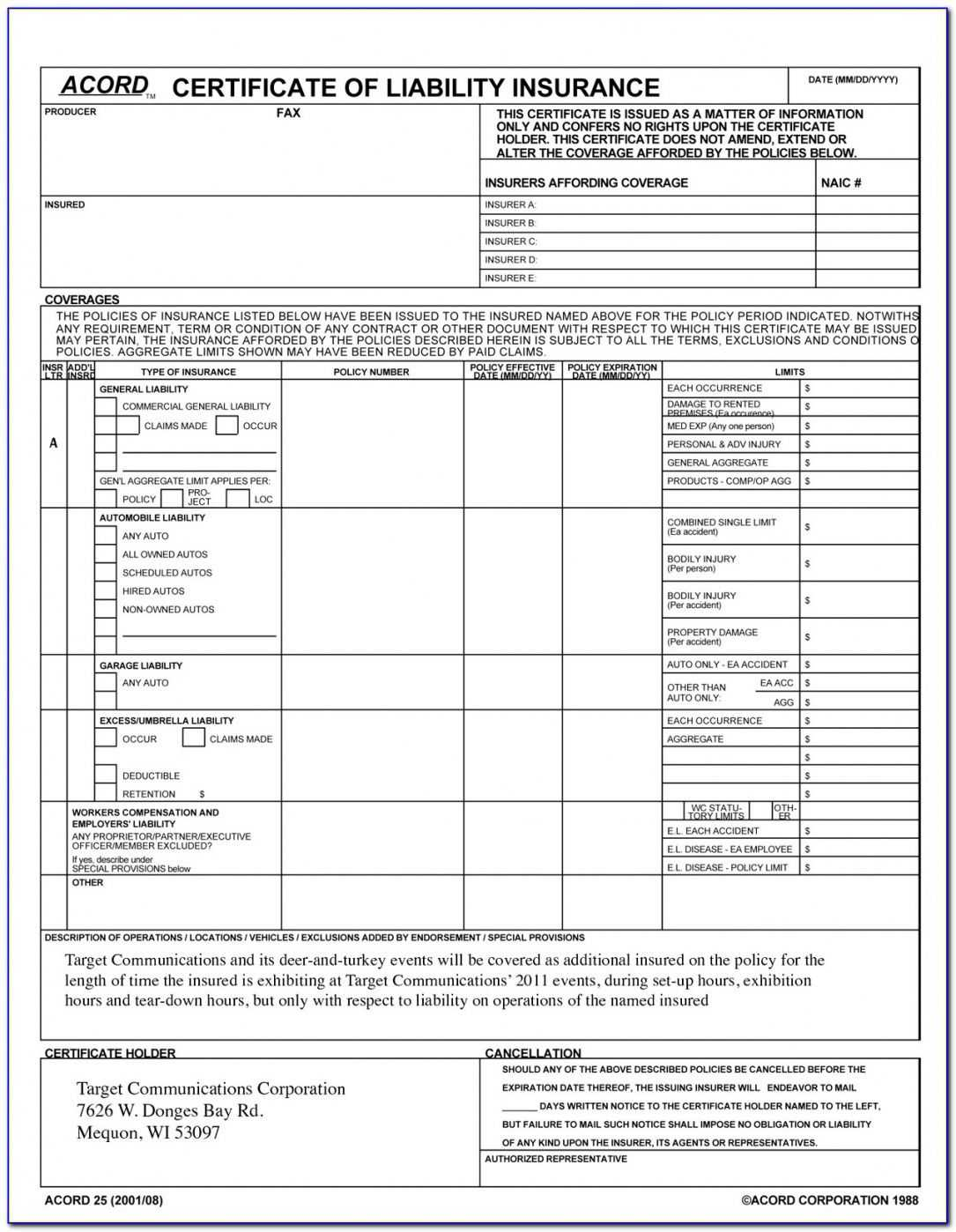 Accord Certificate Of Liability Insurance Form In Certificate Of Liability Insurance Template