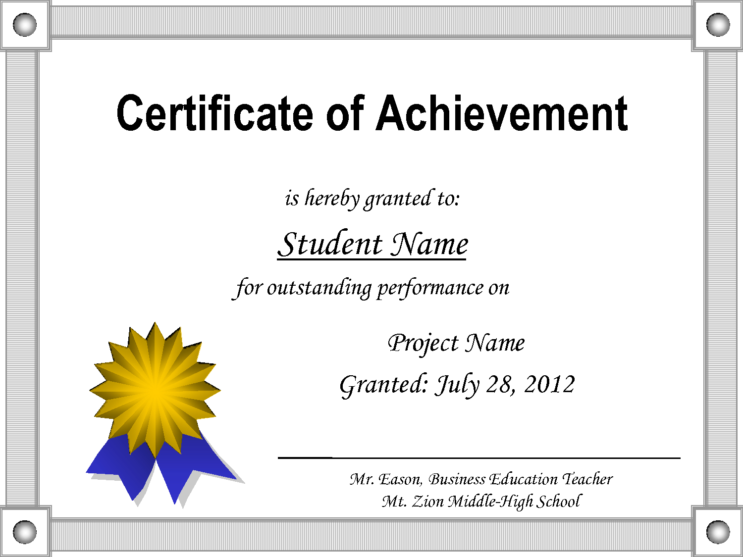 Achievement Certificate Template Free - Cerescoffee.co Within Award Certificate Templates Word 2007