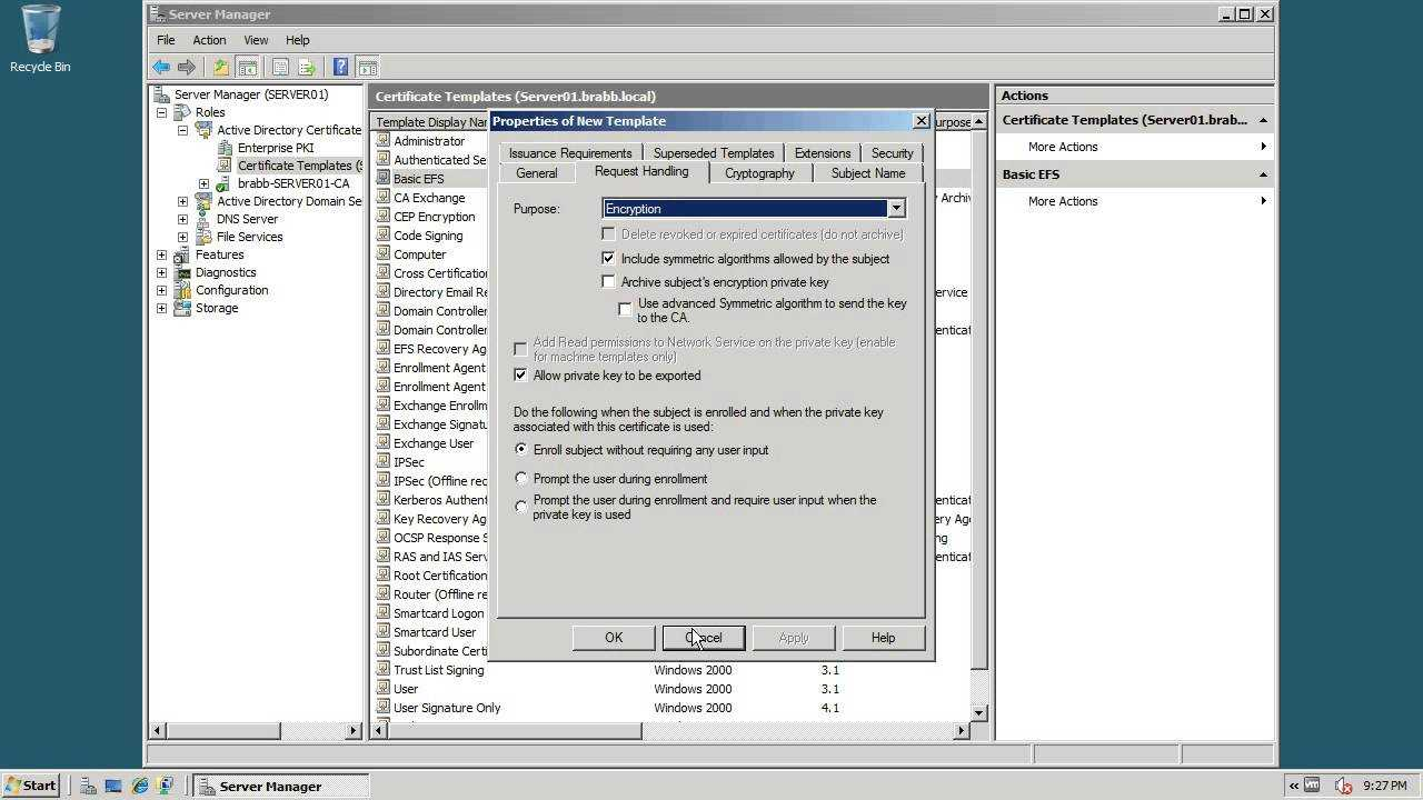 Act 11 3 Creating An Efs Certificate Template Regarding Active Directory Certificate Templates