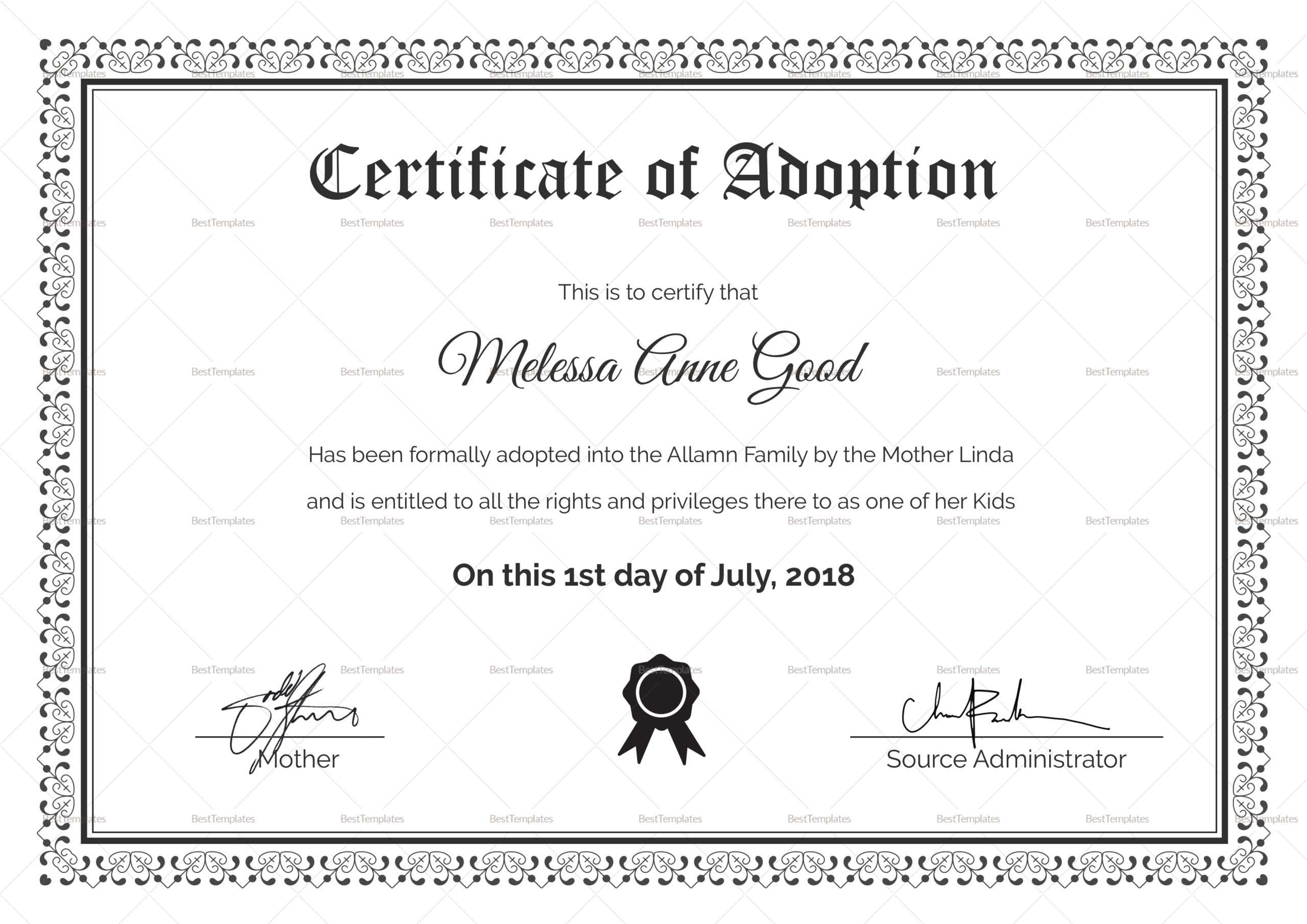 Adoption Certificate Design Template For Adoption Certificate Template