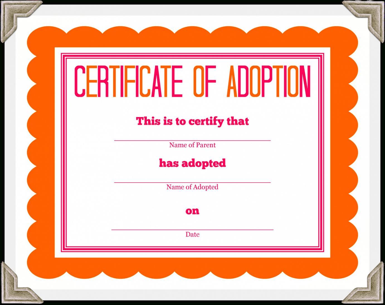 Adoption Certificate Template – Certificate Templates Within Adoption Certificate Template