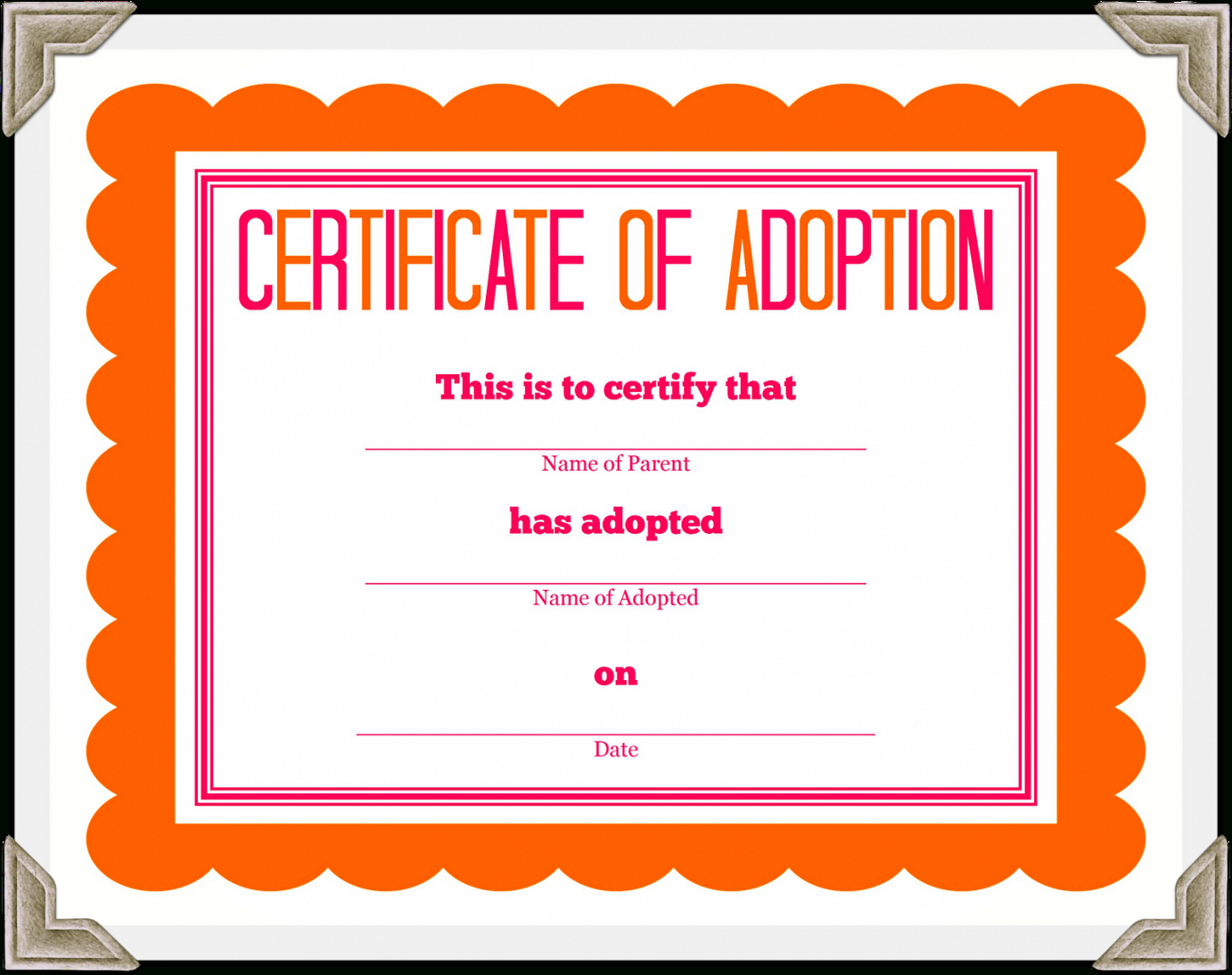 Adoption Docs Certificate Templates Printable Throughout Free Funny Certificate Templates For Word