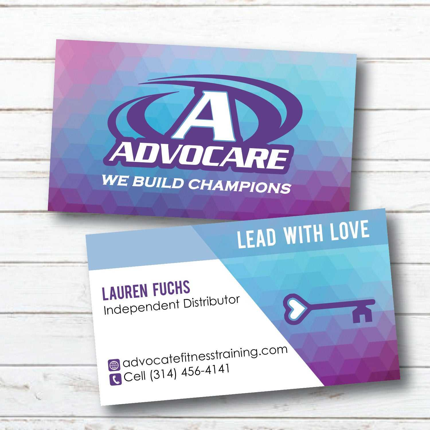 Advocare Business Card | Geometric | Purple Blue | Lead With Love | Digital  File Only | Read Description Before Buying Throughout Advocare Business Card Template