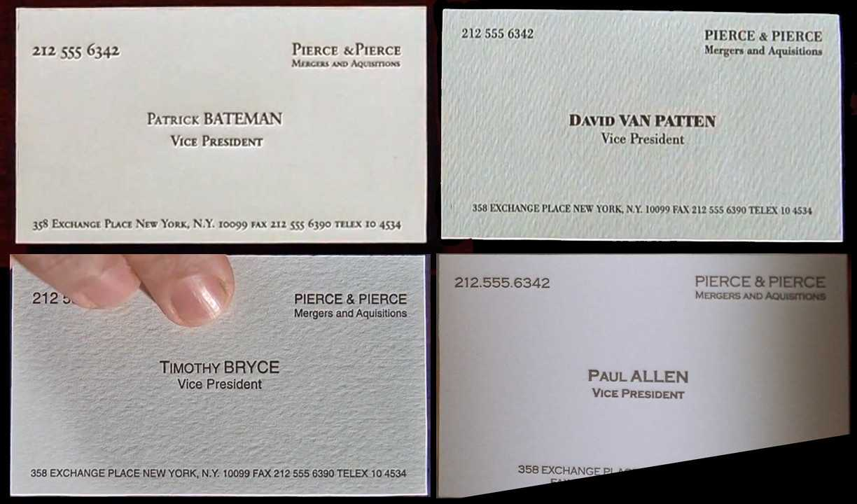 All The Business Cards From American Psycho And There's A For Paul Allen Business Card Template