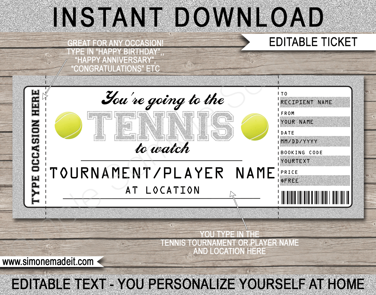 Any Occasion Tennis Gift Tickets Throughout Tennis Gift Certificate Template