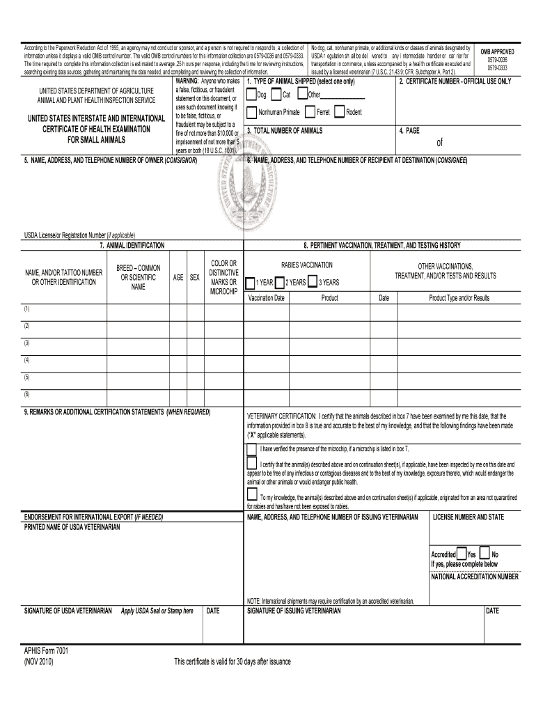 Aphis Form 7001 - Fill Online, Printable, Fillable, Blank Within Veterinary Health Certificate Template