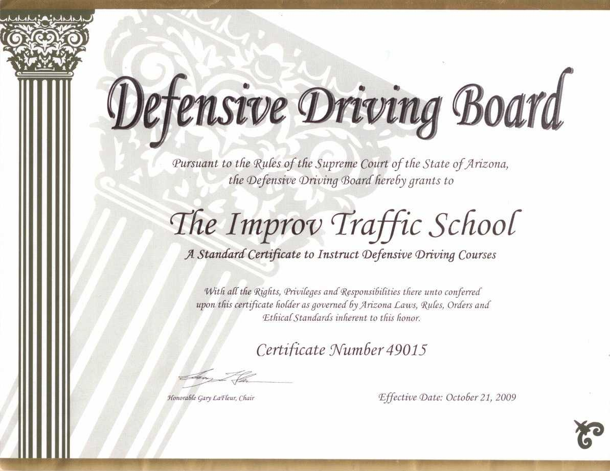 Arizona Defensive Driving Schoolimprov with Safe Driving Certificate Template