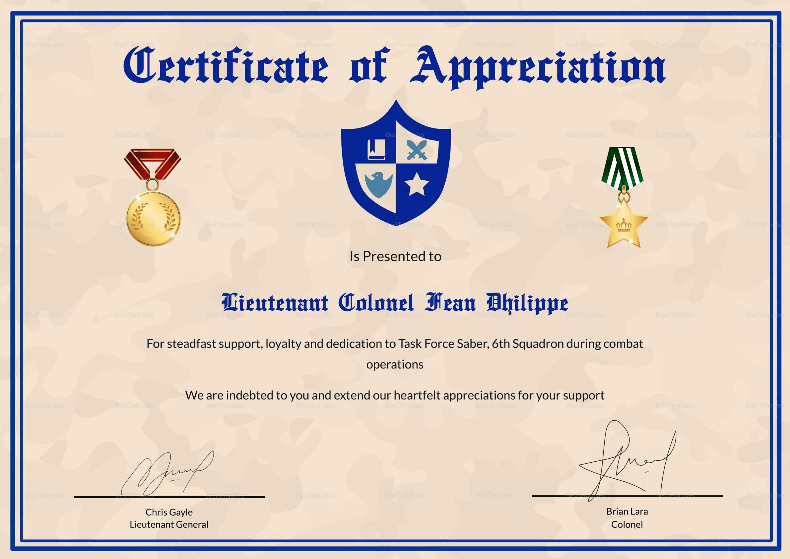 Army Certificate Of Appreciation Template Regarding Army Certificate Of Appreciation Template
