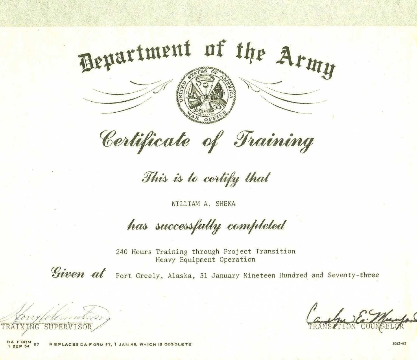 Army Certificate Of Training Template - Karan.ald2014 Inside Army Certificate Of Appreciation Template