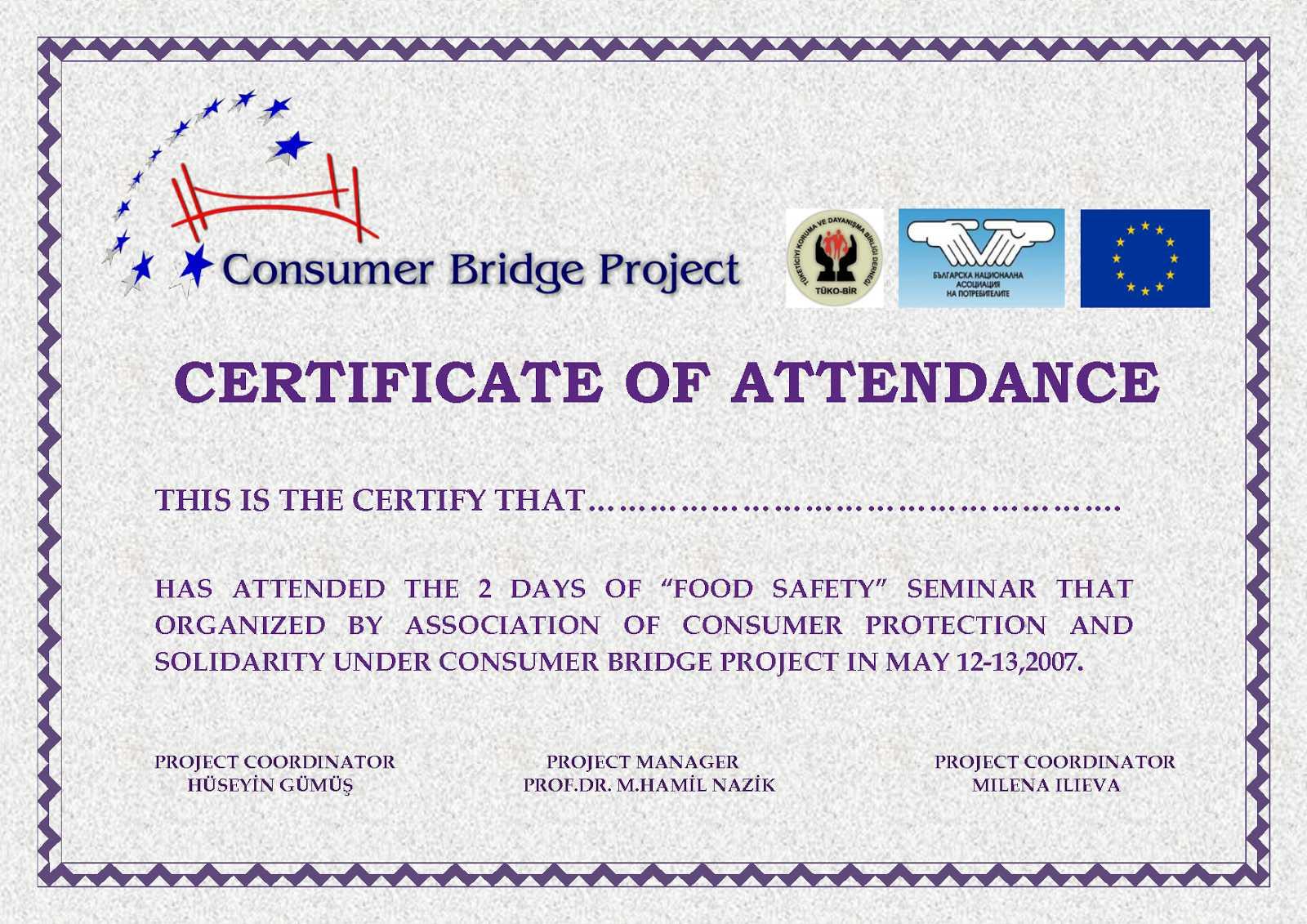 Attendance Certificate Template Free - Karati.ald2014 For Conference Certificate Of Attendance Template