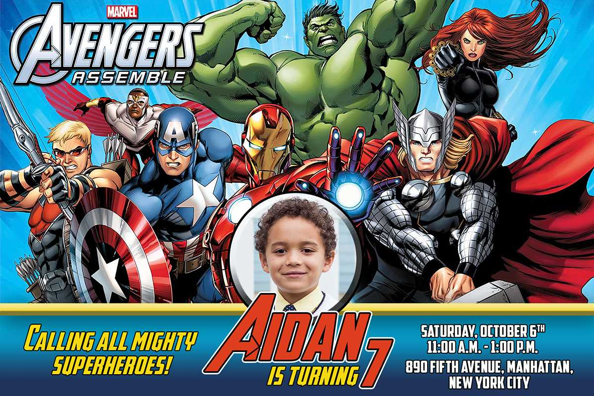 Avengers Birthday Invitation Inside Avengers Birthday Card Template