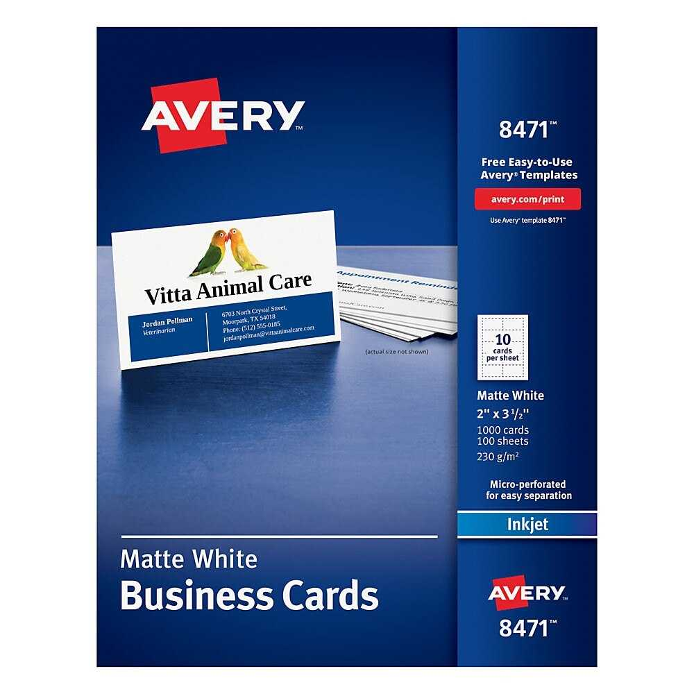 "Avery® Inkjet Microperforated Business Cards, 2"" X 3 1/2"", Matte White,  Pack Of 1,000 Intended For Office Depot Business Card Template"