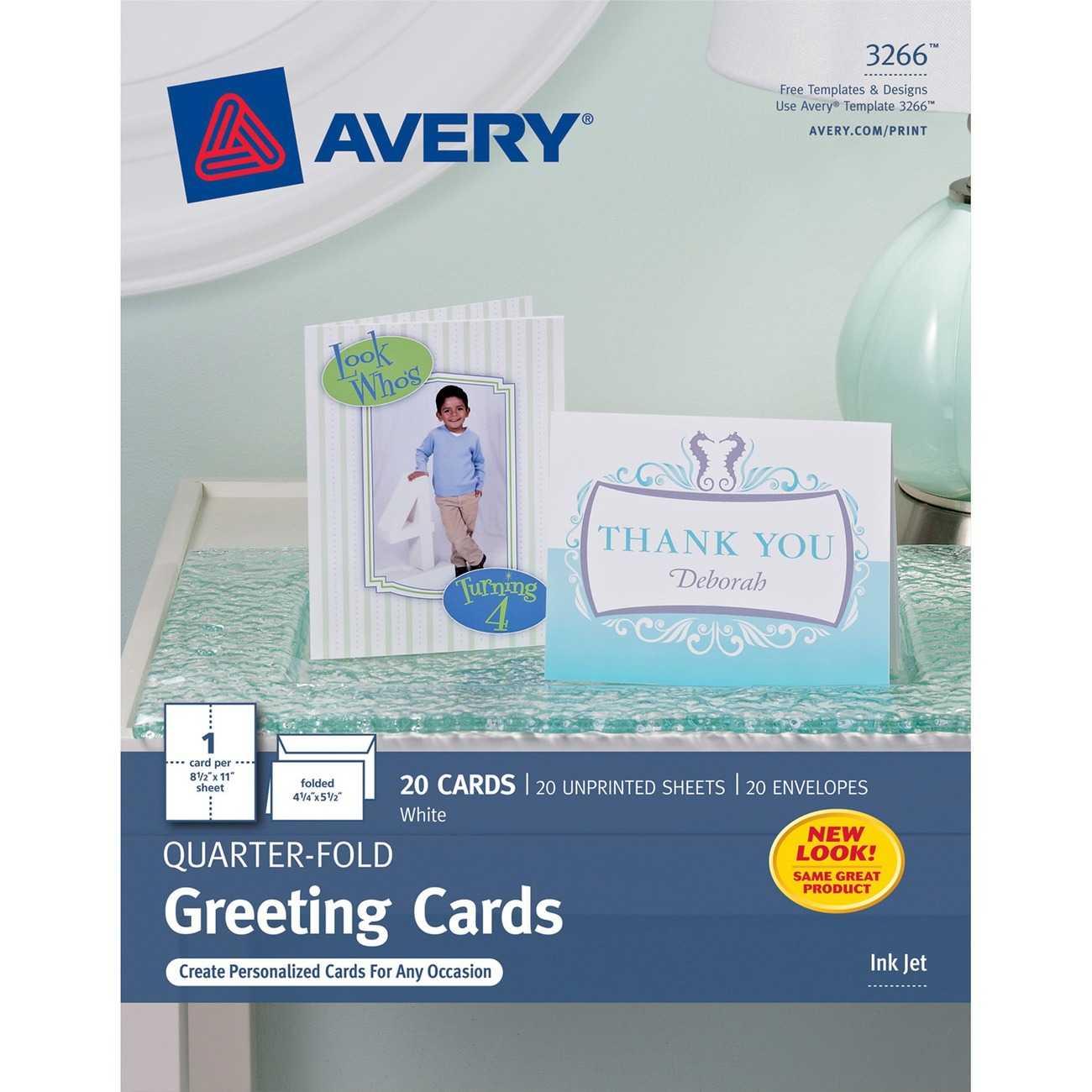 "Avery® Quarter Fold Greeting Cards, Matte, 4 1/4"" X 5 1/2"", 20  Cards/envelopes (3266) – 4 1/4"" X 5 1/2"" – Matte – 20 / Pack – White Regarding Quarter Fold Card Template"
