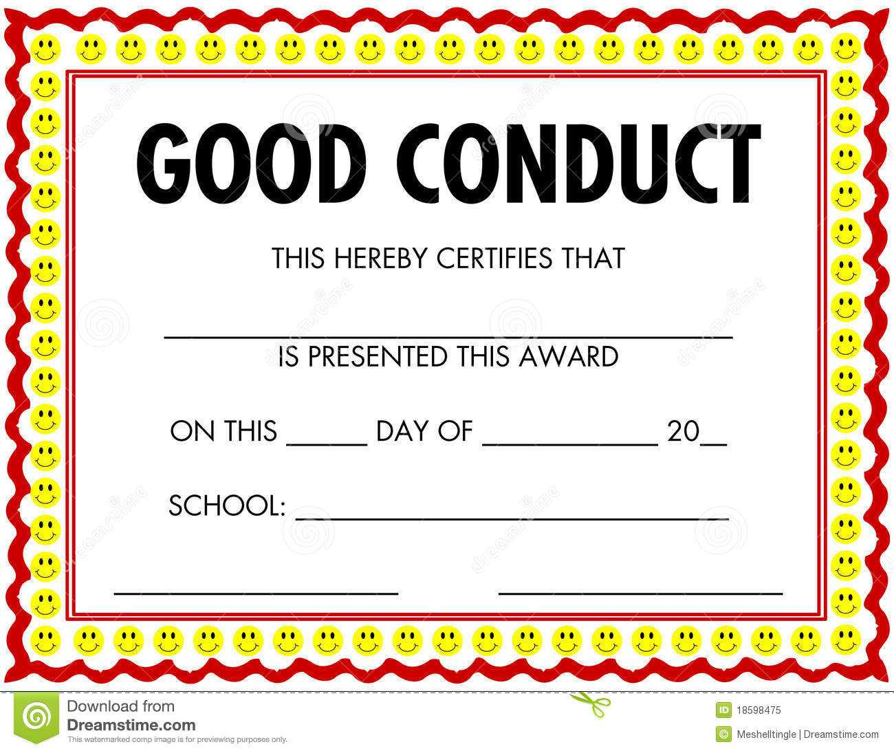 Award Certificate Good Conduct Stock Vector - Illustration Throughout Good Conduct Certificate Template