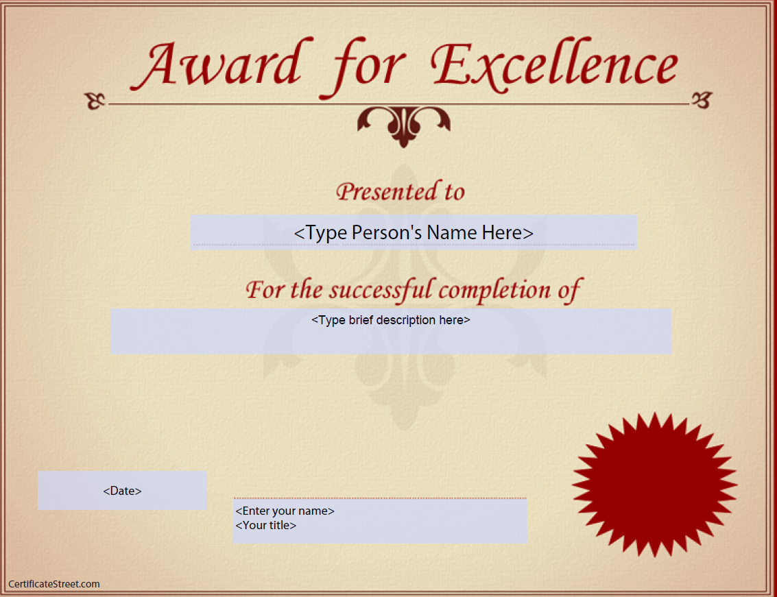 Award For Excellence Certificate | Templates At For Award Of Excellence Certificate Template