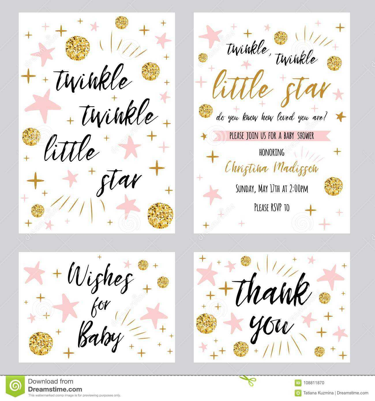 Baby Shower Girl Templates Twinkle Twinkle Little Star Text Inside Thank You Card Template For Baby Shower