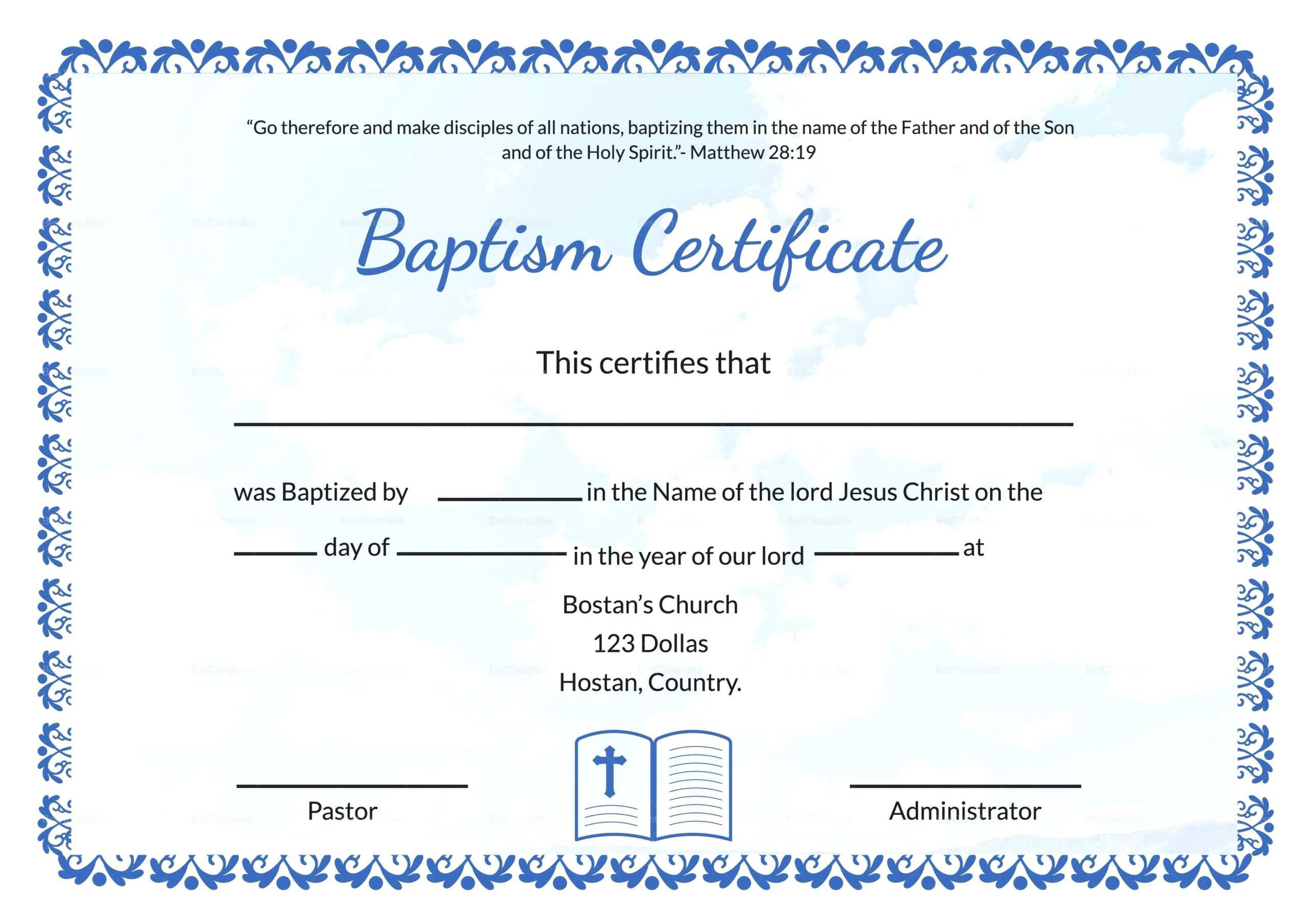 Baptism Certificate Template Word – Heartwork Within Baptism Certificate Template Word