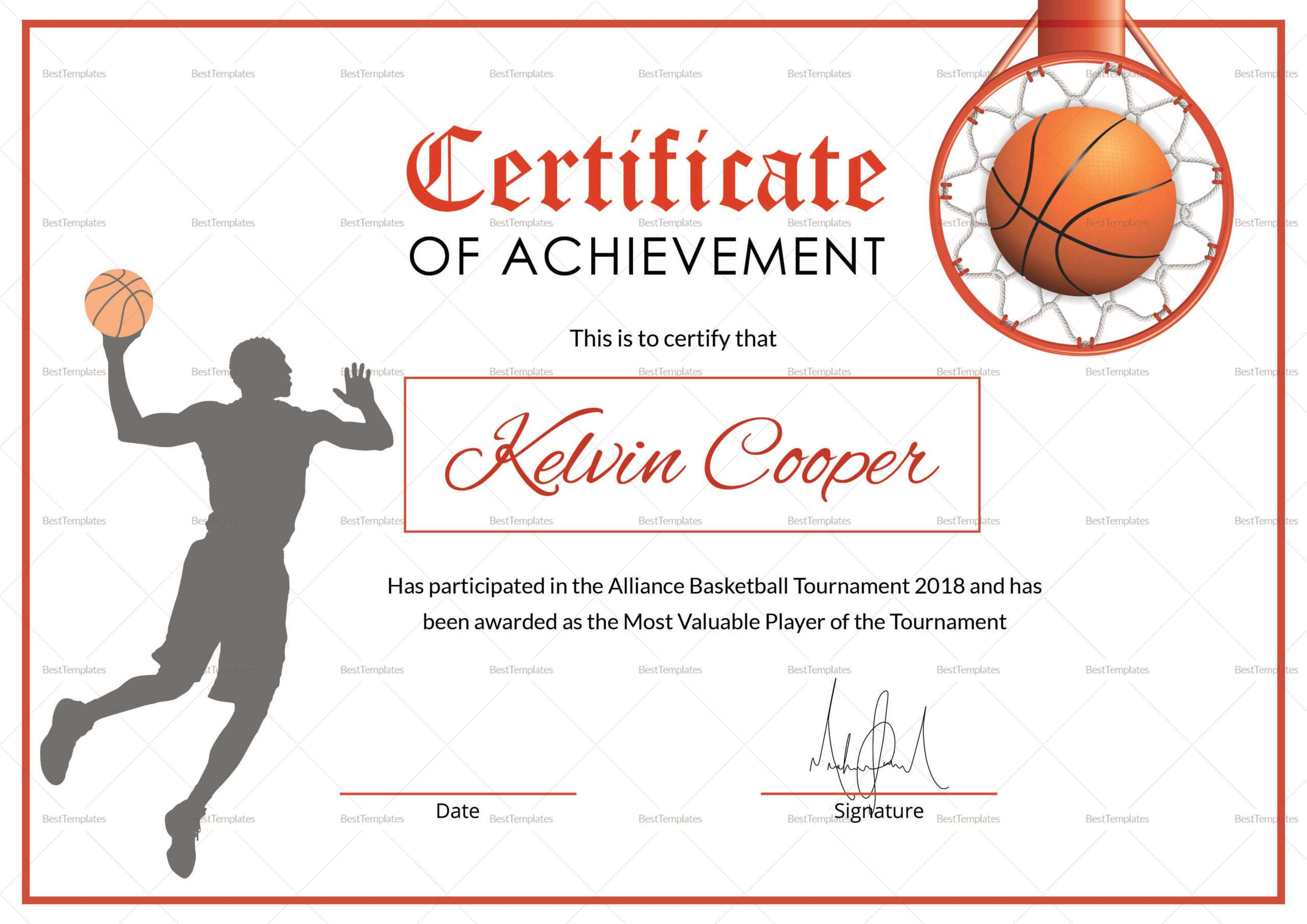 Basketball Award Achievement Certificate Template Intended For Basketball Certificate Template