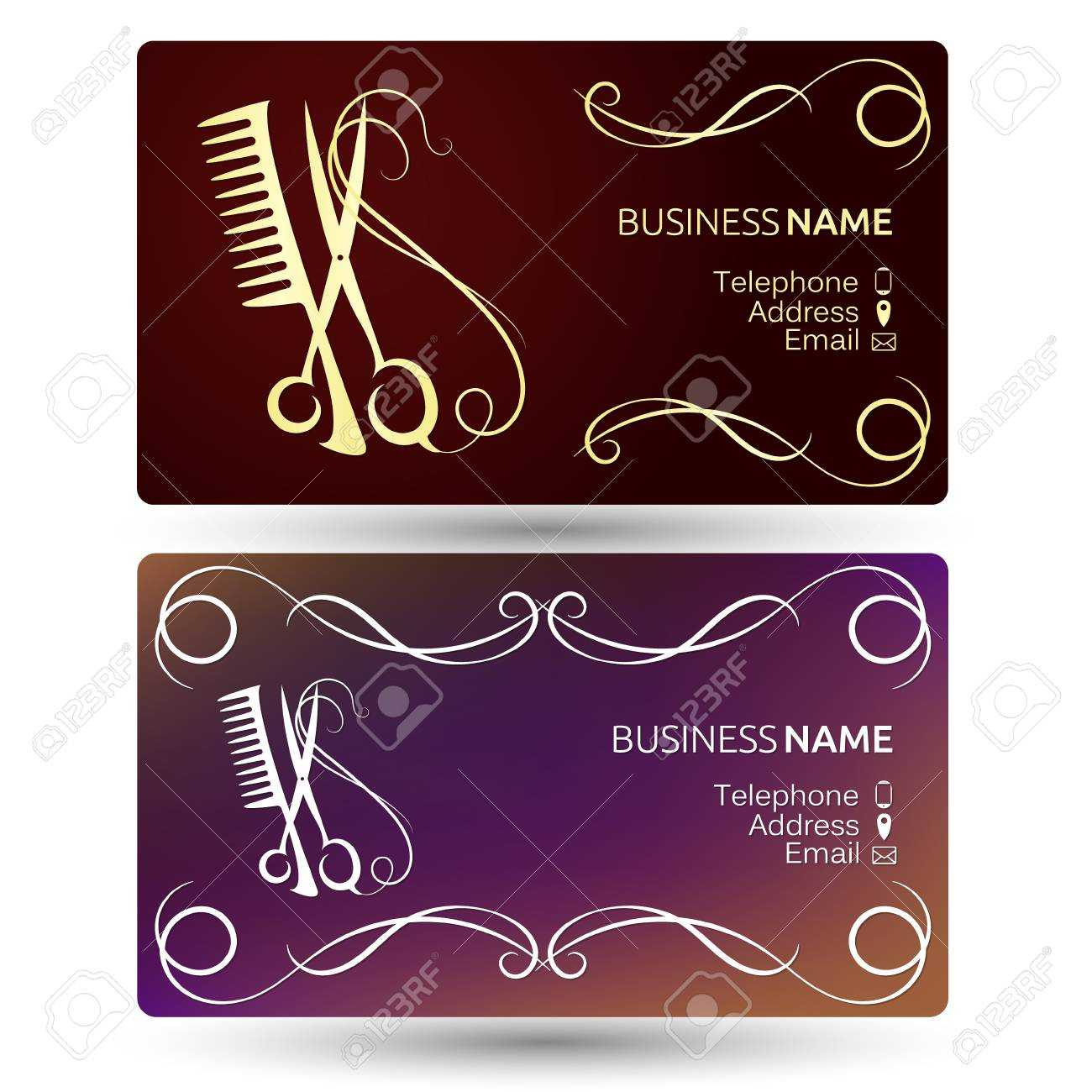 Beauty Salon And Hairdresser Business Card Template Vector With Regard To Hairdresser Business Card Templates Free